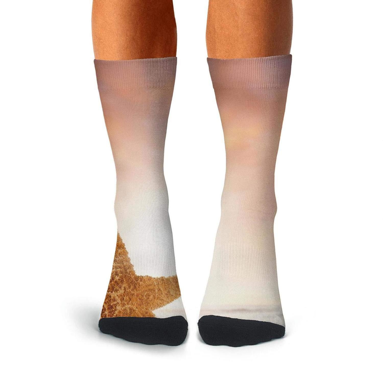 KCOSSH Ocean Beach Sunset Starfish Crazy Crew Sock Athletic Calf Socks for Mens
