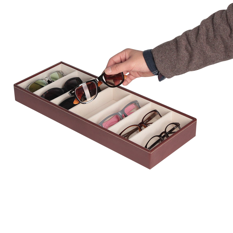 Marr/ón, 44.2 x 17 x 5cm - JackCubeDesign Leather 7 Compartimentos Eyeglass Display Organizer Anteojos Sunglass Storage Case Caja Eyewear Tray Stand Open Top Suede Inside MK378B