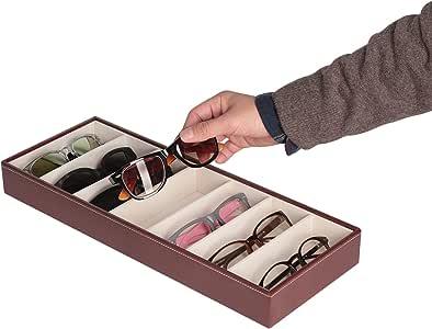 JackCubeDesign Leather 7 Compartments Eyeglass Display Organizer Eyeglasses Sunglass Storage Case Box Eyewear Tray Stand Open Top Suede Inside(Brown, 17.4 x 6.7 x 1.97) - :MK378B