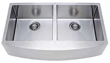 Franke Kinetic 33u0026quot; Apron Front Farm House Double Bowl Kitchen Sink,  Stainless Steel