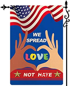 Coskaka We Spread Love Not Hate Garden Flag Black Lives Matter All Lives Matter Unity Patriotic,Vertical Double Sided Rustic Farmland Burlap Yard Lawn Outdoor Decor 12.5x18 Inch