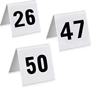 New Star Foodservice 26764 Double Sided Plastic Table Numbers, 26-50, Acrylic, White, 1.7