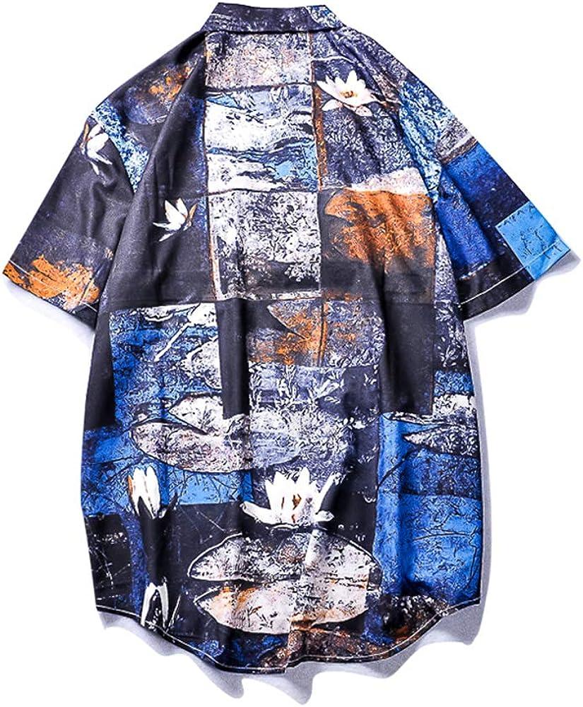VAGUE STAR Mens Summer Casual Funny Graphic Print Beach Short Sleeve Shirt Unisex 670