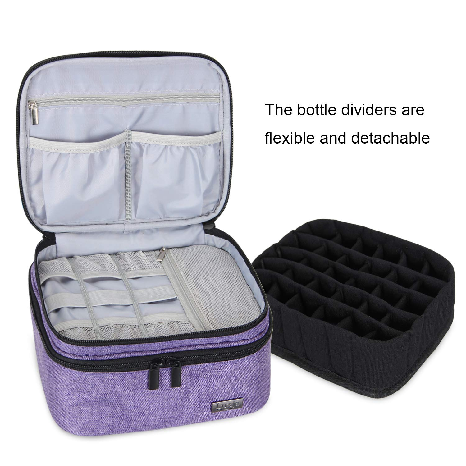 LUXJA Essential Oil Carrying Case - Holds 30 Bottles (5ml-30ml, Also Fits for Roller Bottles), Double-Layer Organizer for Essential Oil and ...