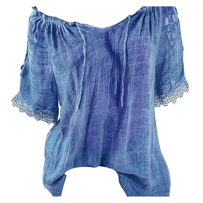 Hibote Lace Up Fashion Tops tee Shirt Blusa Mujeres Ropa Suelta Manga Corta Empalme Blusas Blusas