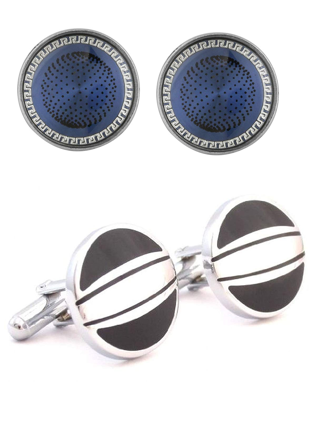 The Jewelbox Half Black & Silver Round & Blue Round Designer Dots Formal Shirt Blazer Suit Cufflinks of 2 Pair Men Gift Box by The Jewelbox (Image #1)