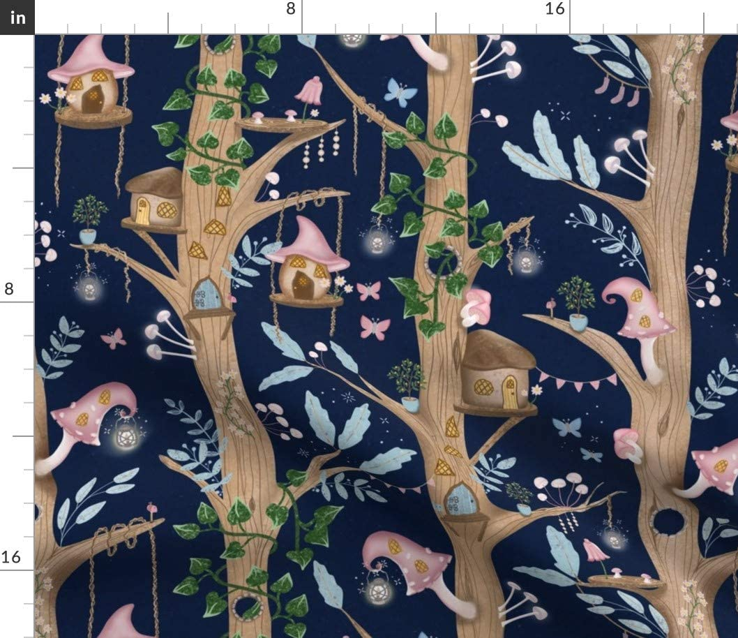 Spoonflower Fabric - Fairy Forest Nature Woodland Home Tree Fantasy Lanterns Printed on Petal Signature Cotton Fabric by The Yard - Sewing Quilting Apparel Crafts Decor