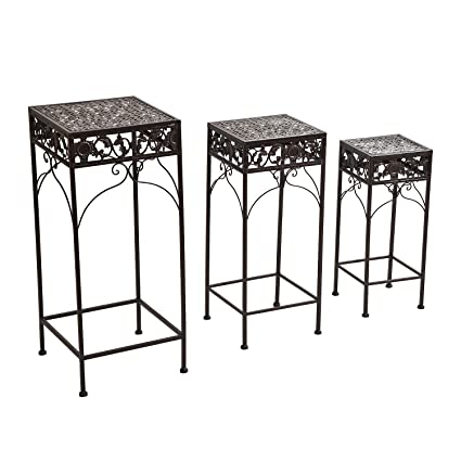 Outsunny 3 Piece Metal Plant Stand Set