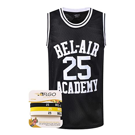 aedd62b3a0fe9 AFLGO Banks #25 Fresh Prince of Bel Air Academy Basketball Jersey, 90's  Clothing Throwback Carlton Costume Athletic Apparel Clothing Stitched – Top  Bonus ...