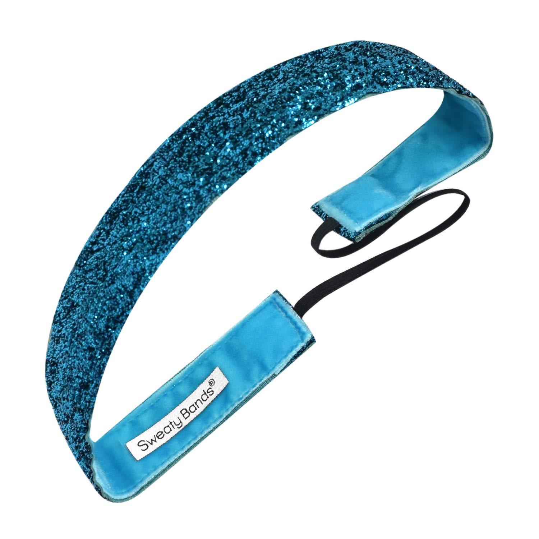 Sweaty Bands Womens Girls Headband - Non-Slip Velvet-Lined Sparkle Hairband - Viva Diva Turquoise 1-Inch