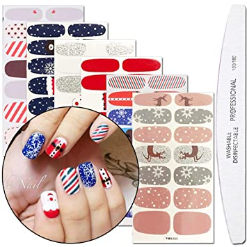WOKOTO 6 Sheets Adhesive Nail Art Polish Sticker Strips With 1Pcs File Winter Nail Wraps Decals Manicure Kits For Christmas