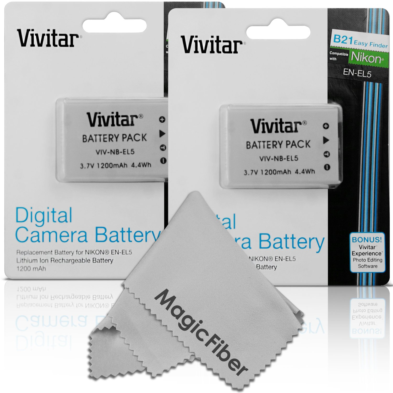 (2 Pack) Vivitar EN-EL5 Ultra High Capacity 1200mAH Li-ion Batteries for NIKON Coolpix P530, P520, P510, P100, P500, P5100, P5000, P6000, P90, P80 Cameras (Nikon EN-EL5 Replacement)