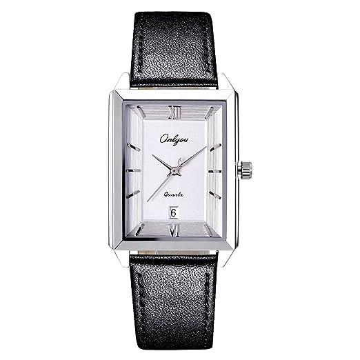 Onlyou Newest Hombres Amante relojes cuadrados vestido señoras relojes reloj para hombres Reloj Carcasas: Amazon.es: Relojes