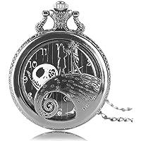 Aolvo Reloj de bolsillo grabado para hombres y mujeres, la pesadilla antes de la Navidad, reloj con diseño de gato Skellington, estilo clásico, mini reloj de bolsillo con cadena de decoración de encaje, accesorios de regalo ideales, Plateado