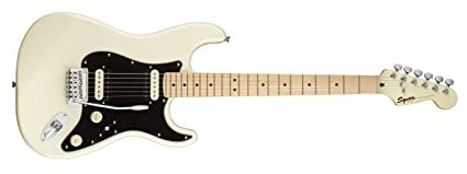 Squier por Fender Stratocaster Guitarra eléctrica – contemporáneo hh – arce diapasón – Pearl Color Blanco