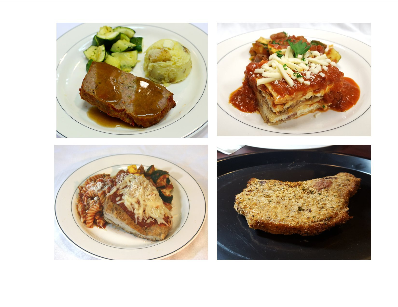 Healthy Chef Prepared Traditional Favorite Meals - 2 each of Chicken Parmesan, American Meatloaf, Baked Pork Chop, and Meat Lasagna
