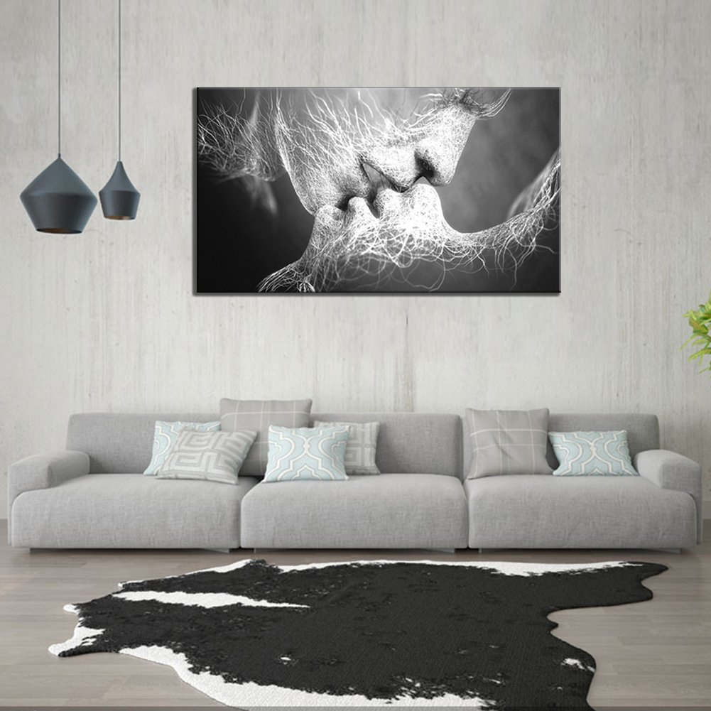 GOUPSKY Kiss Canvas Painting Black and White Picture Frames Romantic Kissing Couple Wall Art Decor Giclee Print Artwork 16X24 inch Stretched and Framed Ready to Hang by GOUPSKY (Image #2)