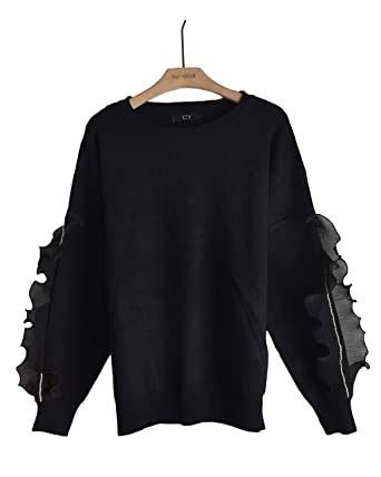 f2829077708 CY BOUTIQUE Chiffon frilled with crystal stone diamond embellished sleeves  knitted jumper top  Amazon.co.uk  Clothing