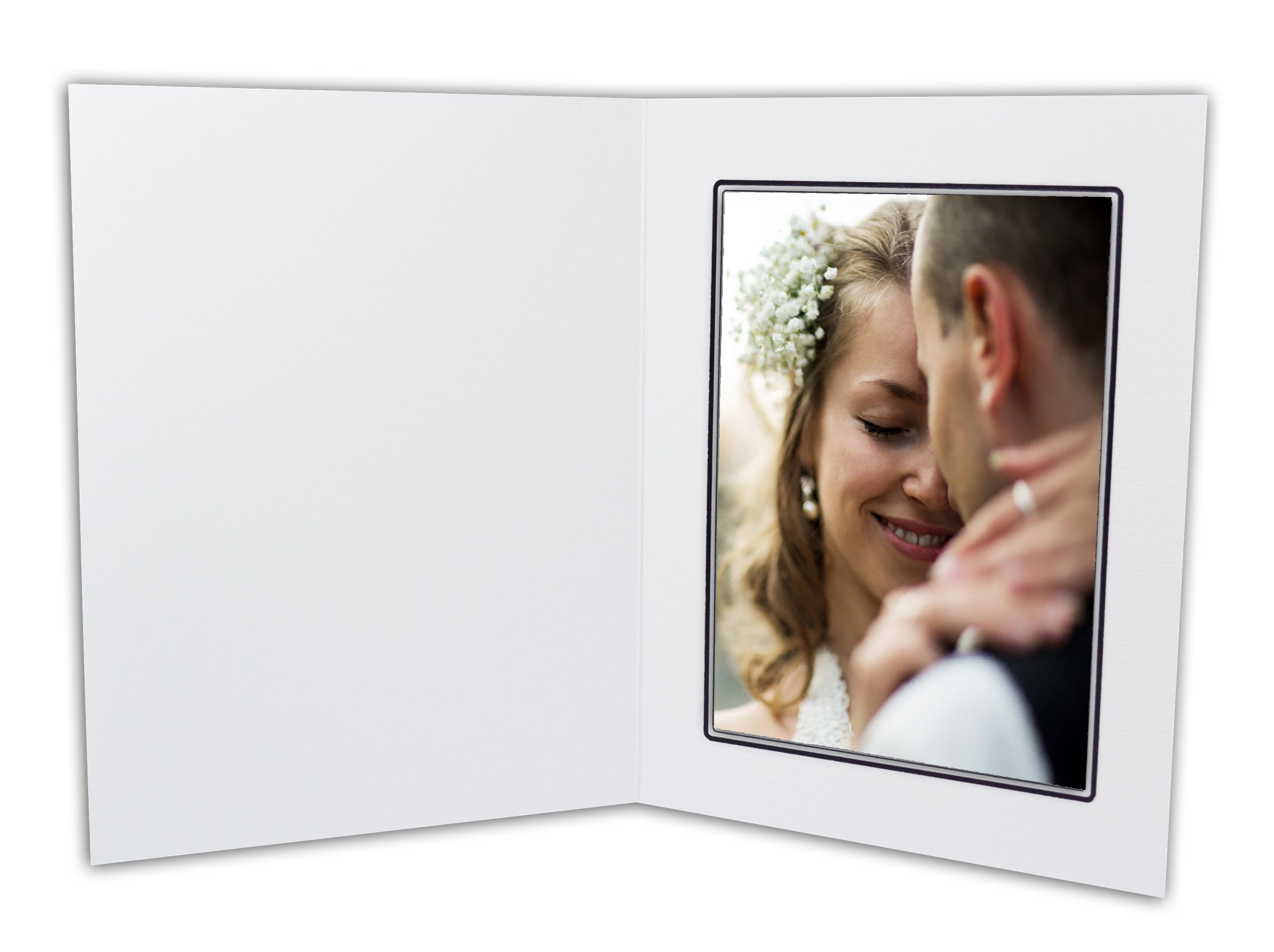Golden State Art, Cardboard Photo Folder For a 5x7 Photo (Pack of 50) GS001 White Color