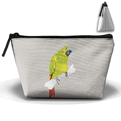 Unisex Stylish And Practical Green Funny Parrot Standing In Bone Trapezoidal Storage Bags Handbags