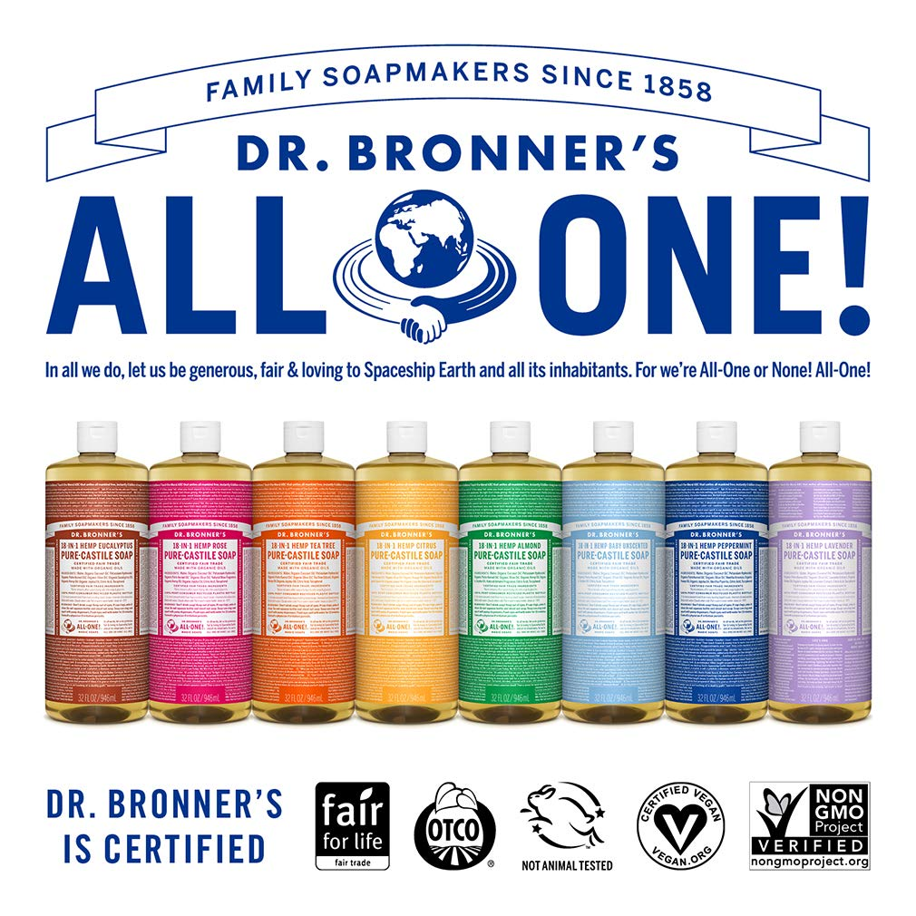 Dr  Bronner's - Pure-Castile Liquid Soap (Peppermint, 32 ounce, 2-Pack) -  Made with Organic Oils,