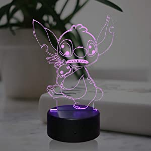 Lilo Stitch Teedy Light 3D Optical Cartoon LED Lamp for Kid Room Decor 7 Colors Touch USB Remote Change Baby Sleep Mood Table Night Light Holiday Teens Toy(Stitch Good Friends)