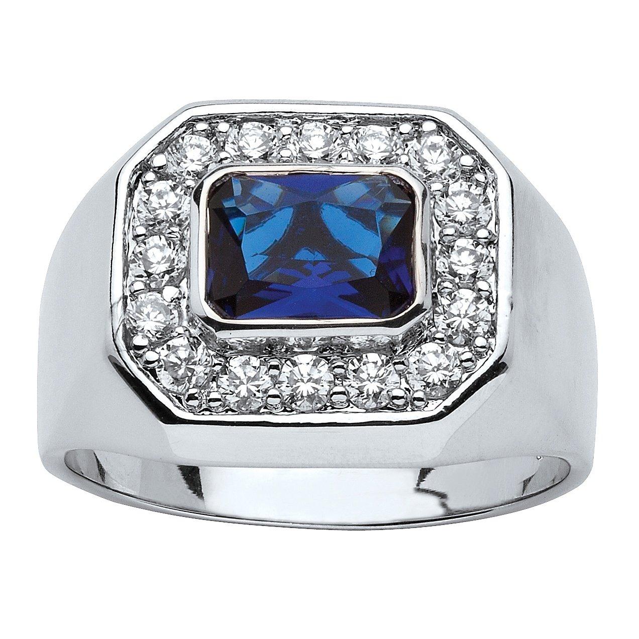 Palm Beach Jewelry Men's Silver Tone Blue Glass Round Cubic Zirconia Ring Size 11