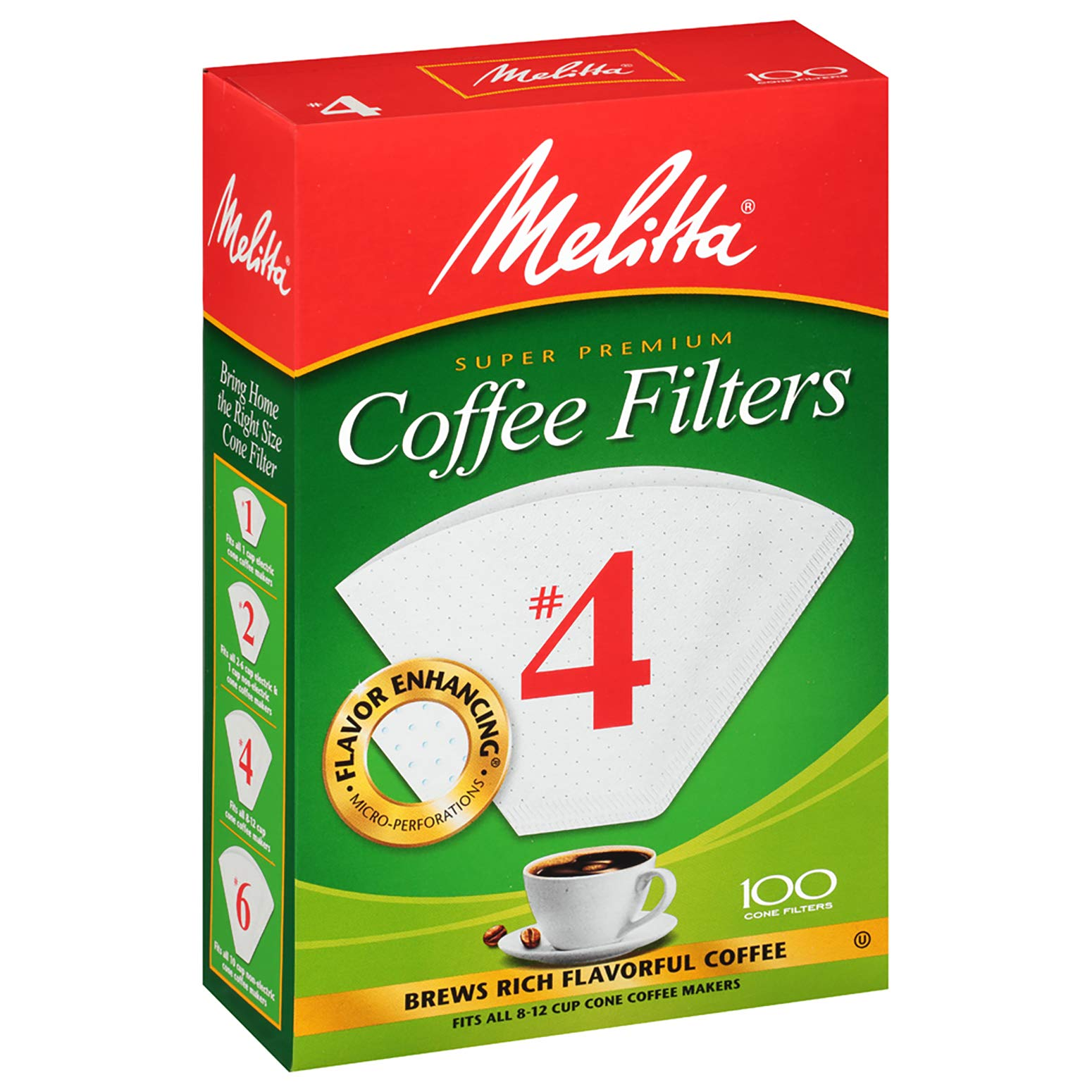 Melitta (624102C) #4 Super Premium Cone Coffee Filters, White, 100 Count (Pack of 12) Replacement Coffee Maker Filters