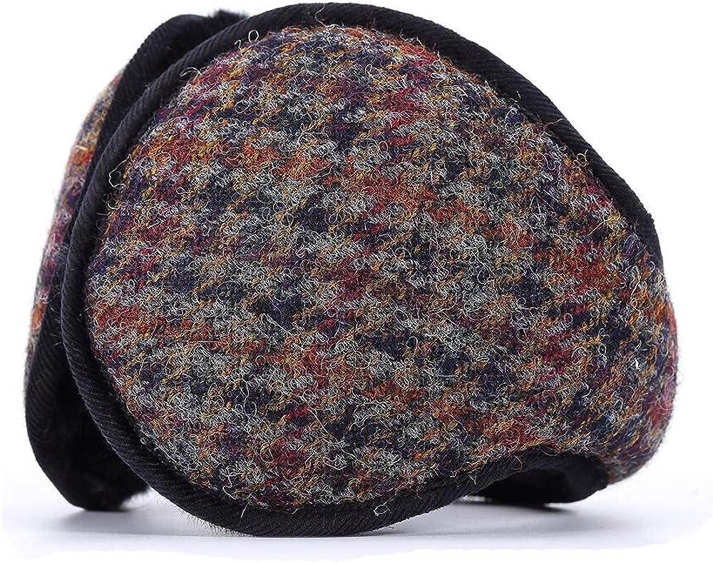 Unisex Winter faltbare Ohrensch/ützer zur/ück getragen stilvolle gem/ütliche Ohrensch/ützer Woolen klassische Plaid Gifts Treat Ohrenw/ärmer