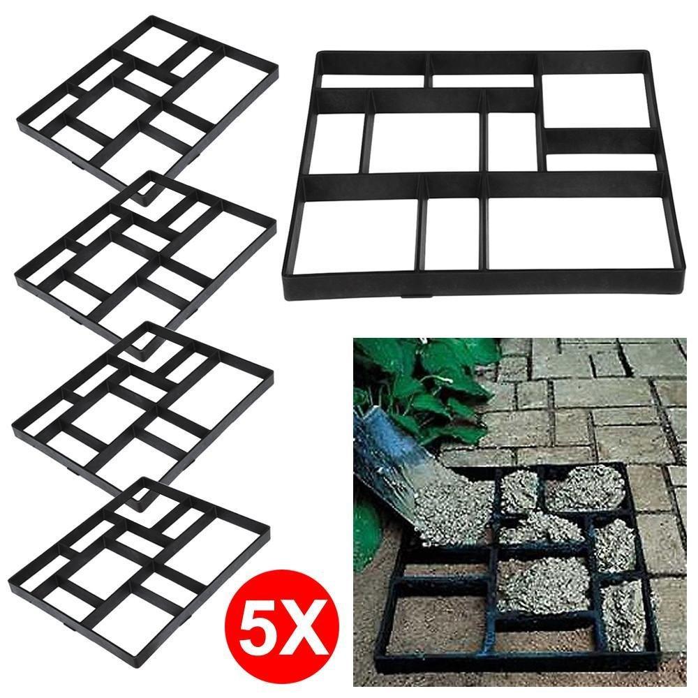 go2buy 5PCS Paving Pavement Concrete Mould Stepping Stone Mold Garden Lawn Path Paver Walk,23.8 x 19.9 x 1.7'' (LxWxH)