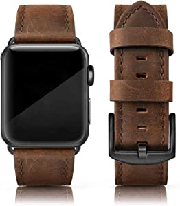 EDIMENS Leather Bands Compatible with Apple Watch 42mm 44mm Band Men Women, Vintage Genuine Leather Wristband Replacement Band for iWatch Apple Watch Series 6 5 4 3 2 1, SE Sports & Edition, Retro Walnut