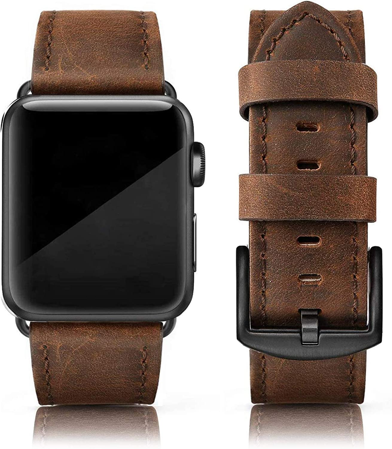 EDIMENS Leather Bands Compatible with Apple Watch 42mm 44mm Band Men Women, Vintage Genuine Leather Wristband Replacement Band Compatible for Apple Watch iwatch SE Series 6 5 4 3 2 1, Sports & Edition, Black Brown
