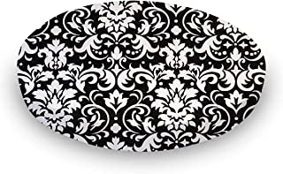 product image for SheetWorld Round Crib Sheets - White Damask - Made In USA