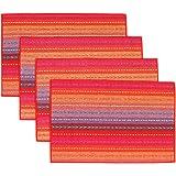 """AUTOPKIO 4 pc / set tovagliette, tessuto fatto a mano intrecciato coasters a coste arcobaleno cotone rosso (12 """"x 18"""")"""
