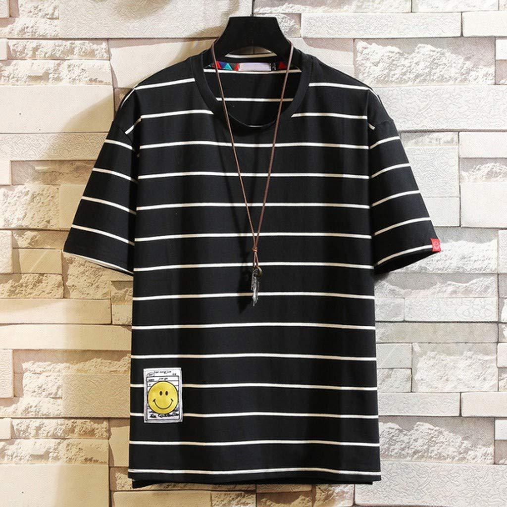 MODOQO T-Shirt for Men,Summer Fashion Striped Printed Big and Tall Short Sleeve Tees