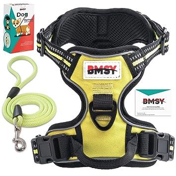 Arnés y correa para perro BMSY, ajustables y reflectantes, con asa ...