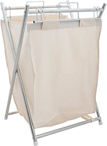 Organize It All Collapsible Chrome Laundry Hamper with Removable Canvas Liner