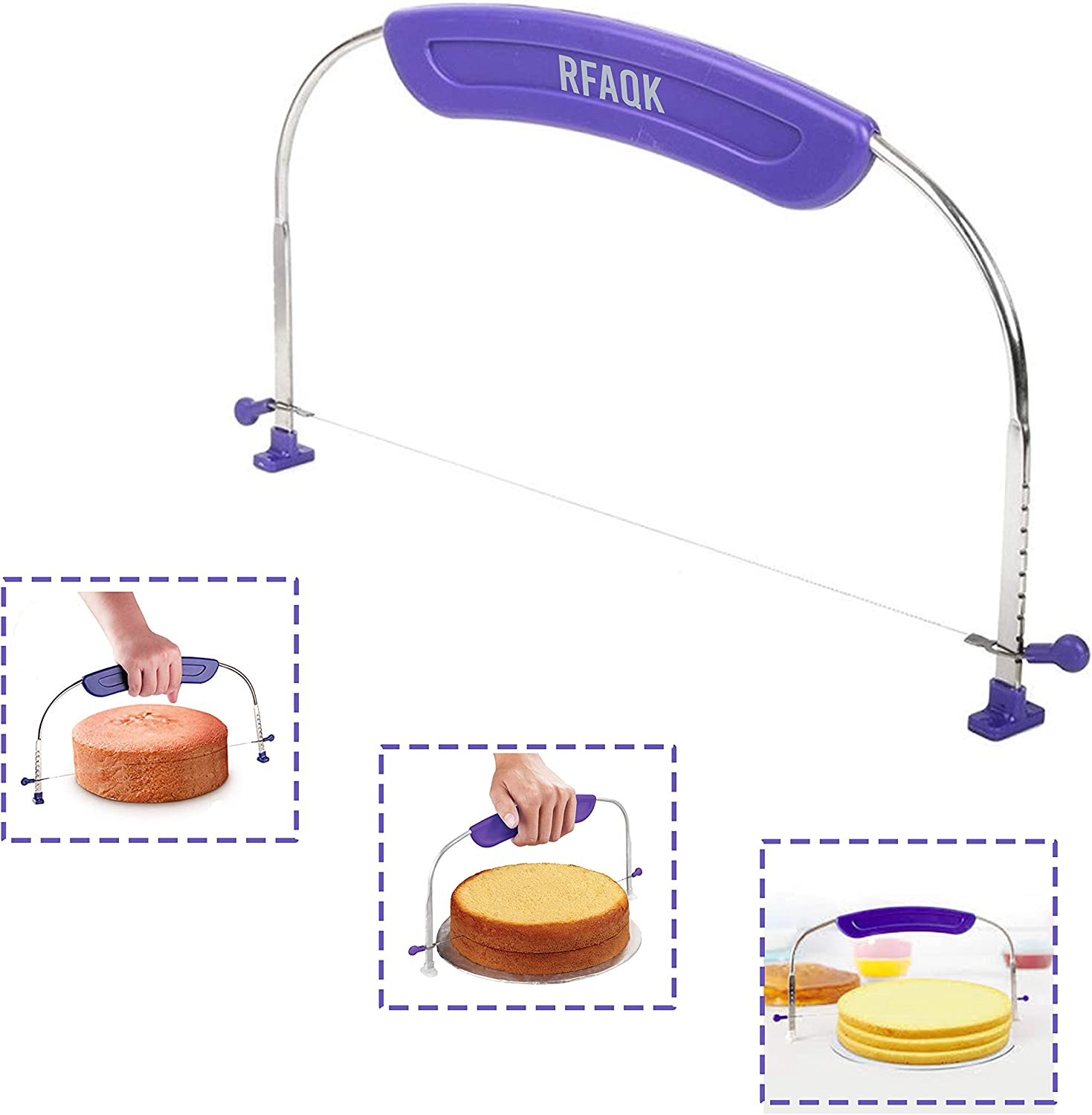 RFAQK Adjustable and Numbered Cake leveler for levelling Layers. Cake Decorating Cutter and Accessory for Slicing. Make Slices of your cake like a pro. Baking supplies and Tool.