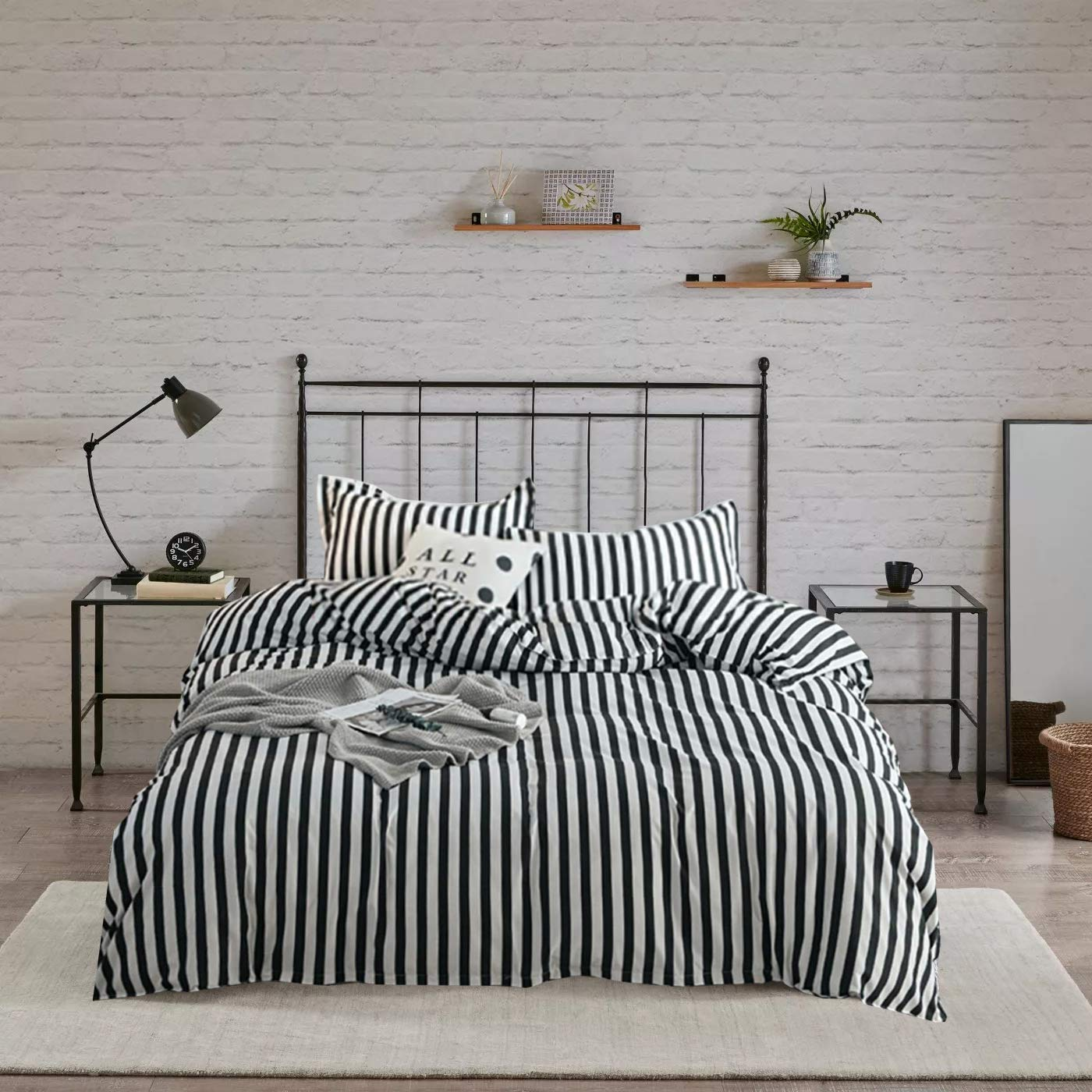 Wellboo Black and White Striped Bedding Sets Twin Cotton Covers Teens Women Men Vertical Stripe Bedding Sets Black Striped Quilt Covers Soft Hotel Luxury Duvet Covers Breathable Soft Health No Insert