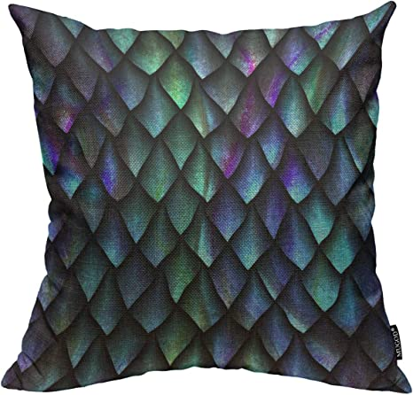 Mugod Reptile Skin Throw Pillow Cover 3d Seamless Texture Of Dragon Scales Decorative Square Pillow Case For Home Bedroom Living Room Cushion Cover 18x18 Inch Home Kitchen