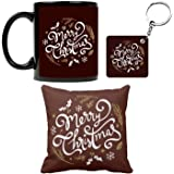 Funky Store Artistic Merry Christmas Theme Printed Ceramic Mug, Cushion Cover and Keychain (Combo of 3), Set for Friends, Family