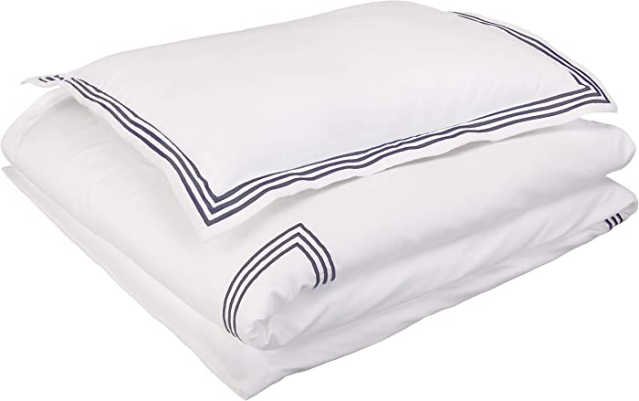 AmazonBasics Embroidered Hotel Stitch Duvet Cover Set - Premium, Soft, Easy-Wash Microfiber - Twin/Twin XL, White with Navy Blue Embroidery