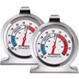 2 Pack Refrigerator Thermometer -30~30°C/-20~80°F, Classic Fridge Thermometer Large Dial with Red Indicator Thermometer…