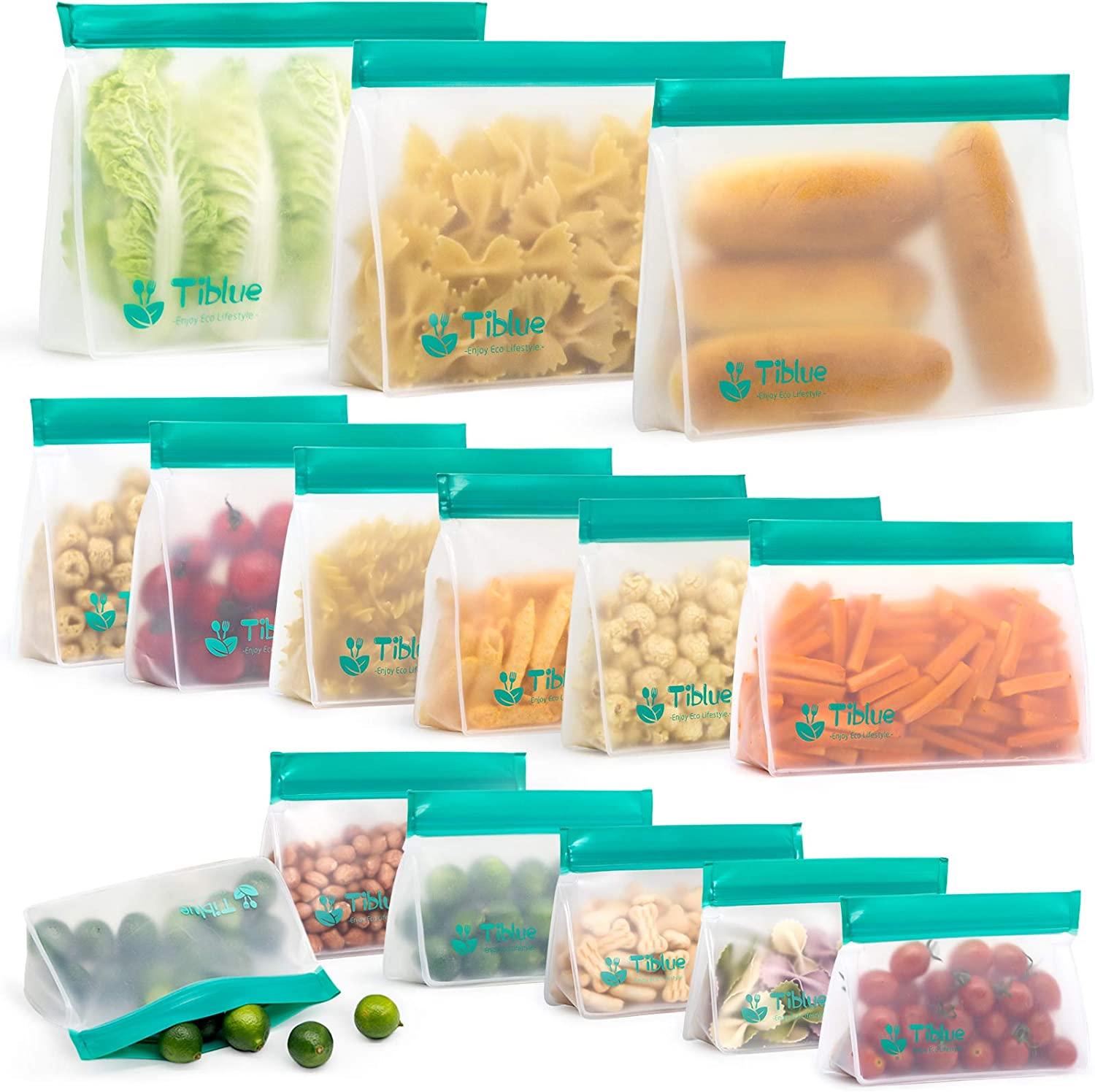 Reusable Food Storage Bags - 10 PCS BPA FREE Freezer Bags(2 Gallon Bags + 4 Reusable Sandwich Bags + 4 Reusable Snack Bags) LEAKPROOF Reusable Lunch Ziplock Bags for Food Travel Make-up Home (Green)
