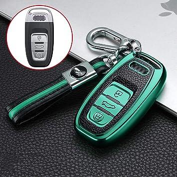 Ontto Smart 3 Taste Autoschlüssel Hülle Abdeckung Für Audi A4 A5 A6 A7 Q5 Q7 Q8 S4 Ttrs Rs Sq Silikon Und Leder Schlüsselhülle Keyless Go Schutz Schlüsselanhänger Schlüsselbox Schlüsselschutz Grün Auto