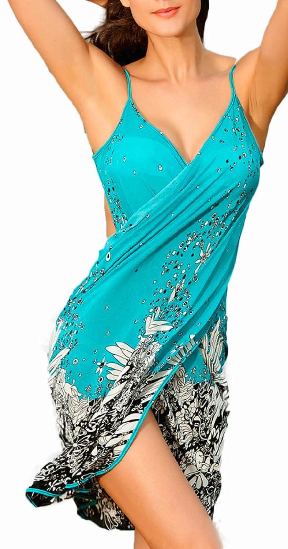 erdbeerloft - Herrlicher Pareo Tunika mit Blumen Print Comic Style, Größe one size, blau schwarz Strandtuch