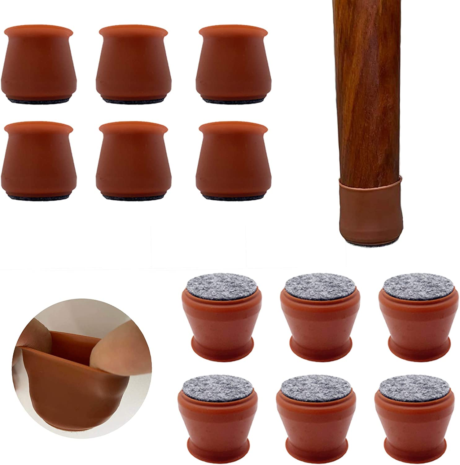 Upgraded 36 PCS Chair Leg Caps with Felt Bottom|Round&Square Silicone Chair Leg Covers for Mute Furniture Moving|Elastic Furniture Silicone Protection Cover to Prevent Scratches. (Coffee)