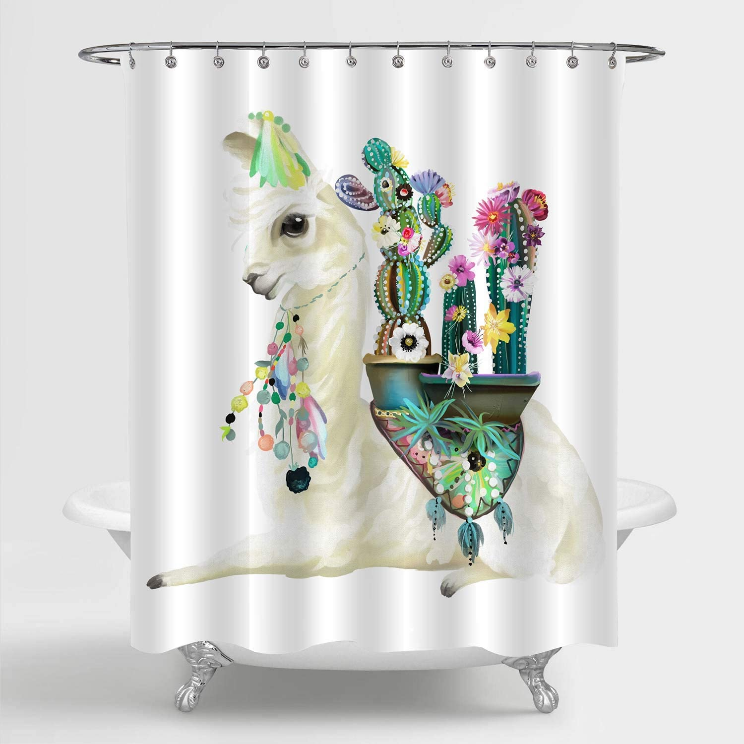MitoVilla Mexican Llama Cactus Shower Curtain Set with Hooks, Llama with  Ethnic Blanket, Cactus and Boho Feathers Bathroom Decor, Llama Gifts for