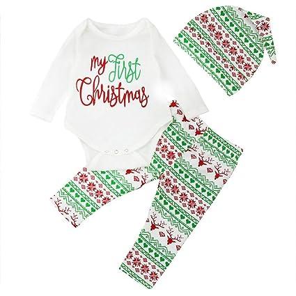 726f741aa425 Franterd Baby Boy Girl 3pcs Christmas Suit ong Sleeve Romper+Retro Deer  Pants+Hat