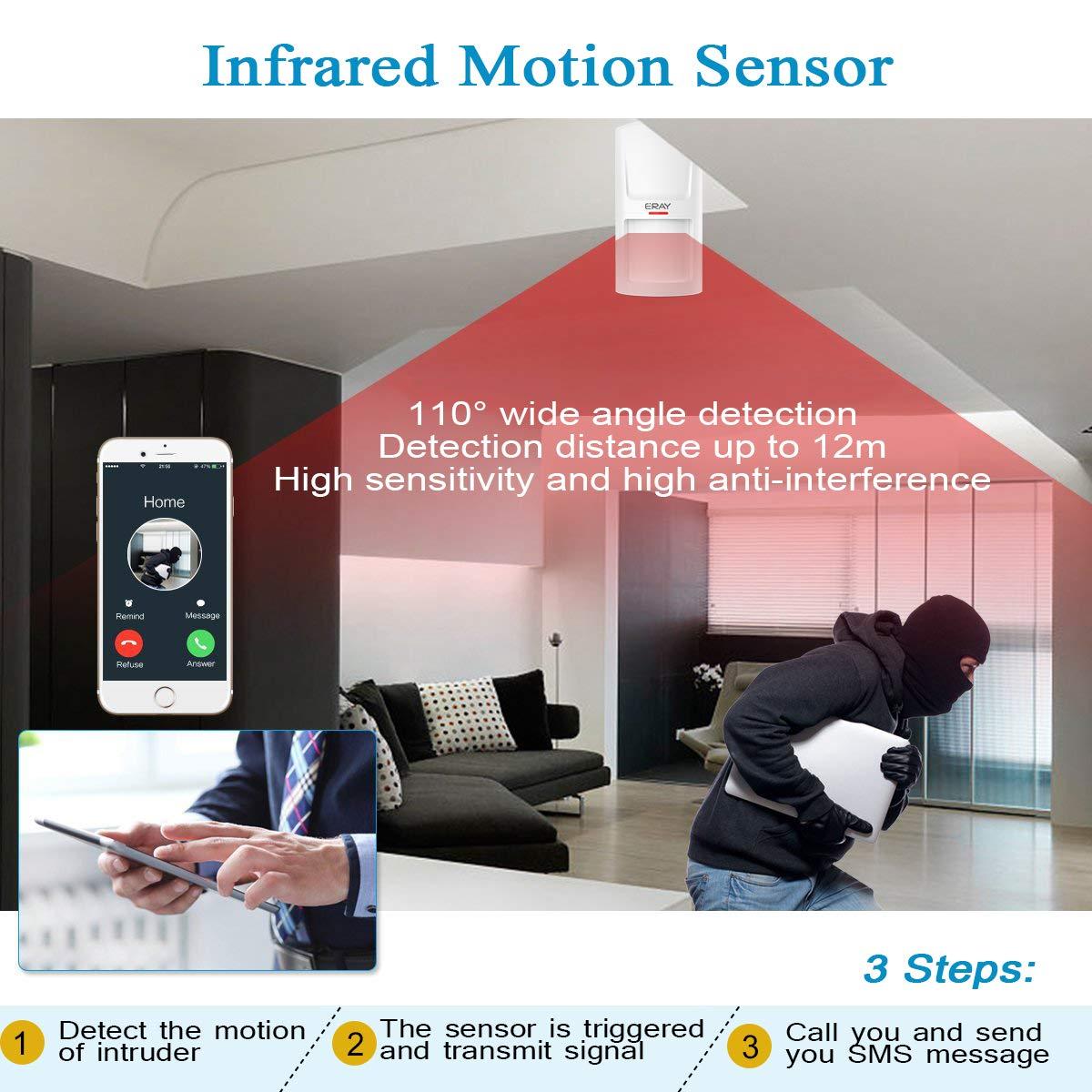 ERAY HW-03D Detector de Movimiento Inalámbrico PIR para el Sistemas de Alarma Antirrobo 433MHZ: Amazon.es: Bricolaje y herramientas